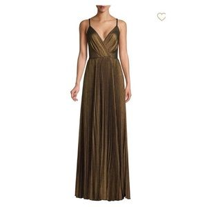 Metallic pleated bustier spaghetti strap maxi